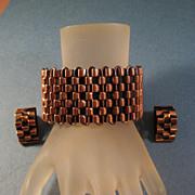 SOLD Renoir Copper Basketweave Bangle Bracelet and Clip Earrings