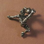 SOLD Silver Charm of Boy Kicking Soccer Ball