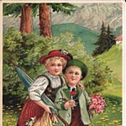 Heavily Embossed Postcard of Adorable Children Crossing a Bridge - Set in Switzerland or Germa