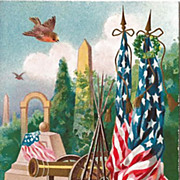 SOLD Patriotic Postcard by M.W. Taggart with Flags, Cannons and Memorials