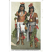 SOLD Fred Harvey Postcard Indian Men in Ceremonial Dance Costume, New Mexico