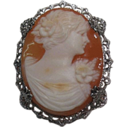 Shell Cameo in Silver-tone Filigree Setting Petite  Much Detail