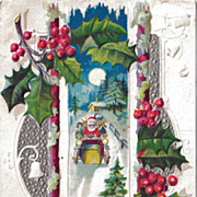 Embossed Postcard Santa in Car Delivering Toys