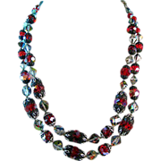 Vendome Red and Aurora Borealis Crystal Necklace Eye Candy