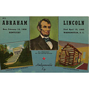Abraham Lincoln Postcard Lincoln National Historical Park