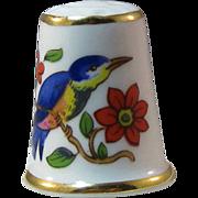 Ansley England Bone China Thimble Bluebird Flowers
