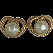 Rochas Paris Earrings Gold-tone Simulated Pearl