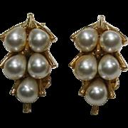 Simulated Teardrop Pearl Earrings Signed Art