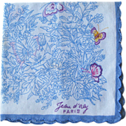 Jeou d'orly Paris Hankie Handkerchief Butterflies Flowers