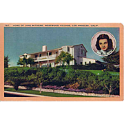 SOLD Postcard of Jane Withers Westwood Village Home Los Angeles California