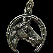 Horseshoe Horse Head Sterling Silver Charm