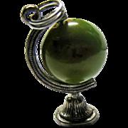 SOLD Sterling Silver Mechanical Globe Charm Green Red Slag