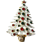 Eisenberg Ice Snow Covered Christmas Tree Pin Rhinestones Colorful