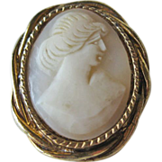 SALE Shell Cameo Brooch Pin Petite Gold-tone Setting