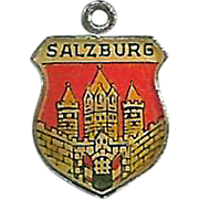 Salzburg Enamel Travel Charm 800 Silver Shield Vintage