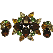Rhinestone Pin and Clip Earrings Autumn Colors Demi Parure Set
