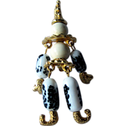 Articulated Clown Pin Glass Beads Gold-tone Figural Brooch