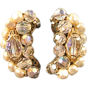 Crystal and Simulated Pearl Earrings: Vintage Earrings: Crystal Earrings: Collectible Earrings