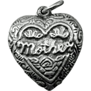 Mother Puffy Heart Charm Sterling Silver / Puffy Heart / Mother Heart / Collectible Heart Char