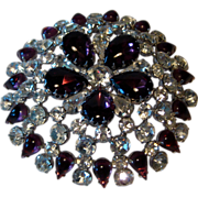 Spectacular Huge Hattie Carnegie Domed Pin Amethyst and Clear Rhinestones Three and One Half I