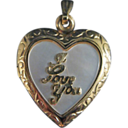 "Locket with Mother of Pearl Insert and ""I Love You"" in Script / Gold-tone Locket ..."