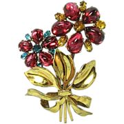 Czechoslovakian Pin Truly Outstanding Colors / Flower Pin / Designer Pin / Fashion Jewelry / C