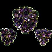 Fabulous Deep Amethyst Color EISENBERG Demi Parure / Eisenberg Pin and Earrings / Fabulous Dee