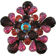Magnificent Large Brooch with Amethyst, Red Art Glass, and Orange Stones