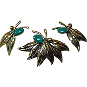 Ciner Sterling Demi Parure with Turquoise Accents