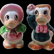 Anthropomorphic Duck Salt and Pepper Shakers / Ceramic Shakers / Colorful Salt Pepper / Japan