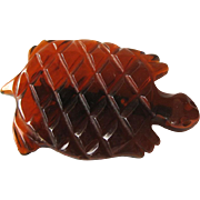 Bakelite Turtle Pin Translucent Rootbeer Color / Vintage Bakelite