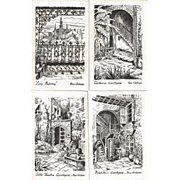 Postcard Sketches of French Quarter New Orleans