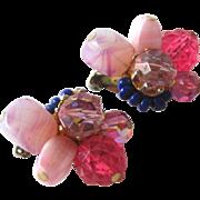 Stunning Carnegie Multicolored Earrings / Carnegie Clip Earrings
