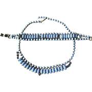 Blue Milk Glass Necklace and Bracelet with Blue Rhinestones