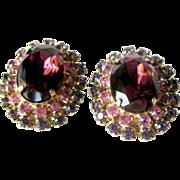 Clip Earrings Pink and Amethyst Colored Rhinestones / Vintage Earrings / Mid Century Jewelry /