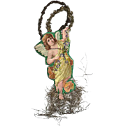Victorian Die-cut Angel Ornament with Tinsel / Victorian Angel / Tinsel Angel / Christmas Ange