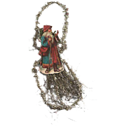 Victorian Santa Die-cut Tinsel Ornament / Vintage Tinsel Ornament / Victorian Ornament / ...
