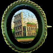 Vintage Micromosaic Pin Italian Ancient Ruins / Micromosaic / Vintage Pin / Collectible ...