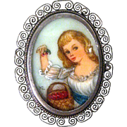 Hand Painted Portrait Pin / 800 Silver / Vintage Portrait Pin / Collectible Pin / Fashion Jewe