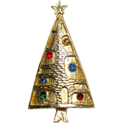 Mid Century Christmas Tree Pin / Modernist Christmas Tree Pin / Holiday Jewelry / Christmas ..