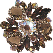 Elegant Rhinestone Pin Amber Colored and Aurora Borealis Stones