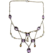 Art Nouveau Festoon Necklace with Pearls Amethyst and Topaz Colored Stones / Lavalier Necklace