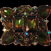 Rhinestone Pin with Large Watermelon Stones / Estate Jewelry / Vintage Jewelry