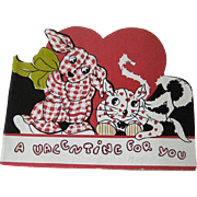 Gingham Dog Calico Cat Valentine Card / Valentine Booklet / Vintage Valentine