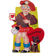 Mechanic Valentine / Boy in Kilt Valentine / 1930s Valentine / Collectible Valentine / Vintage