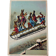 Trade Card Rabbits on Sled / Six Rabbits on Sled / Winter Scene / Collectible Trade Card / Vin