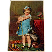 Advertising Card Girl and Kitten / VIntage Advertising Card / Collectible Trade Card / Ephemer