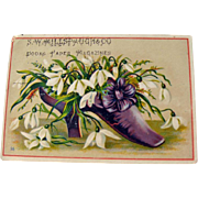 Vintage Advertising Card / Purple Shoe Trade Card / Show with Flowers / Ephemera / Collectible