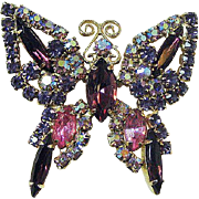 Stunning Butterfly Pin in Purple Pink and Aurora Borealis