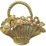 Pretty Little Basket Pin / Basket with Simulated Pearls / Vintage Basket Pin / Collectible Bas